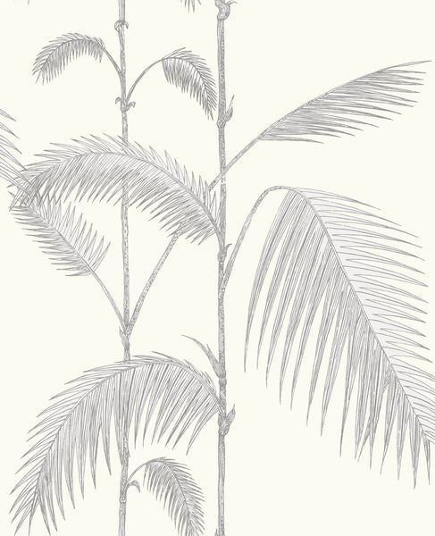 Palm Leaves - Soft Grey On White - Wallpaper Trader