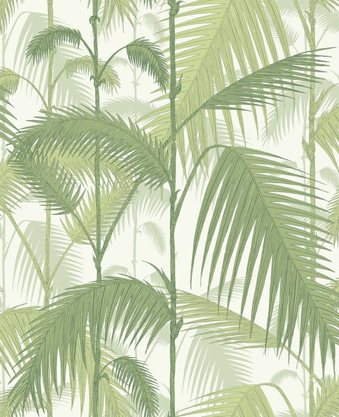 Palm Jungle - Olive Green On White
