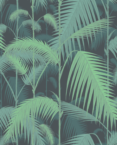 Palm Jungle - Green On Black - Wallpaper Trader