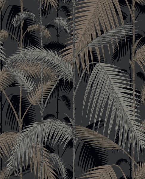 Palm Jungle - Silvers On Black - Wallpaper Trader