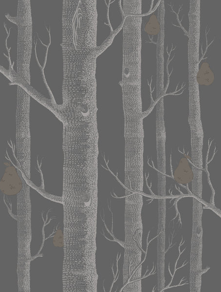 Woods & Pears - Charcoal, Gold & Linen - Wallpaper Trader