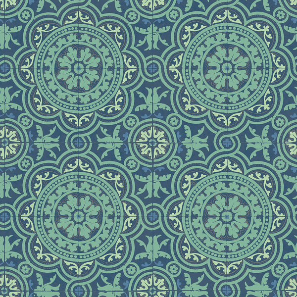 Piccadilly - Teal & Gold - Wallpaper Trader