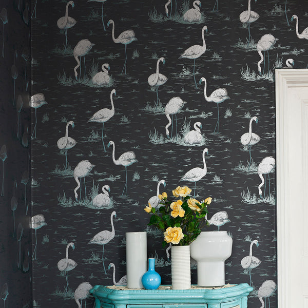 Flamingos - Charcoal On White - Wallpaper Trader