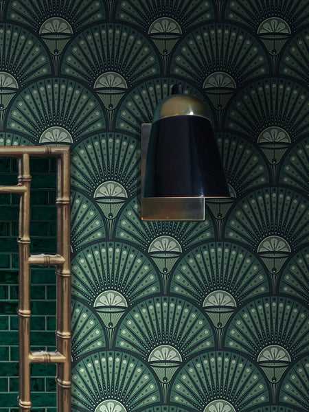 Deco Martini - Bright Green - Wallpaper Trader