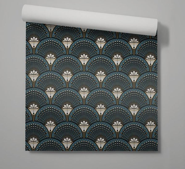 Deco Martini - Teal Green - Wallpaper Trader