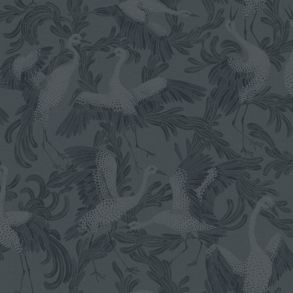 Dancing Crane- Indigo Blue - Wallpaper Trader