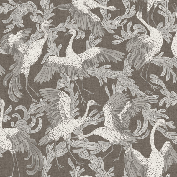 Dancing Crane Special Edition - Brown - Wallpaper Trader