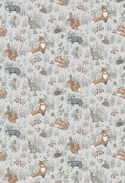 Forest Friends Mural - Golden Oranges and Earthy Browns - Wallpaper Trader