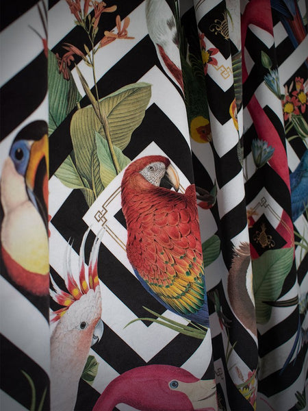 Geometric Aviary Velvet - Wallpaper Trader