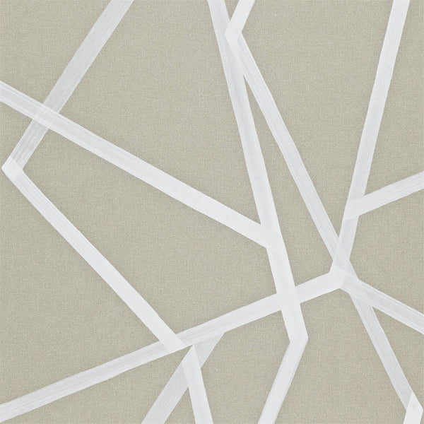Sumi Geometric - White on Linen - Wallpaper Trader