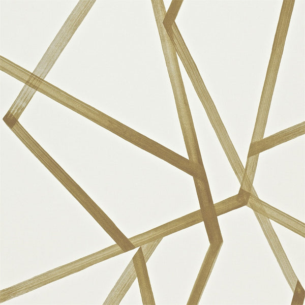 Cool mid century modern wallpaper featuring large scale brushstroke geometric lines by Harlequin, this colour is mustard gold on on ivory, Sumi Wallpaper by Harlequin product code 110884