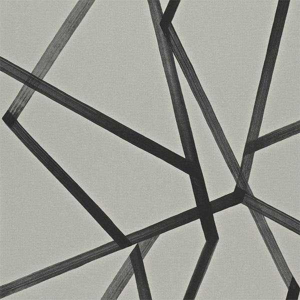 Sumi Geometric - Black on Linen - Wallpaper Trader