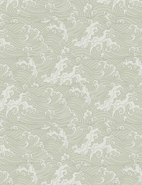 Japanese Wave - Pastel Green - Wallpaper Trader