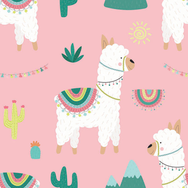 Llama Party - Pink - Wallpaper Trader