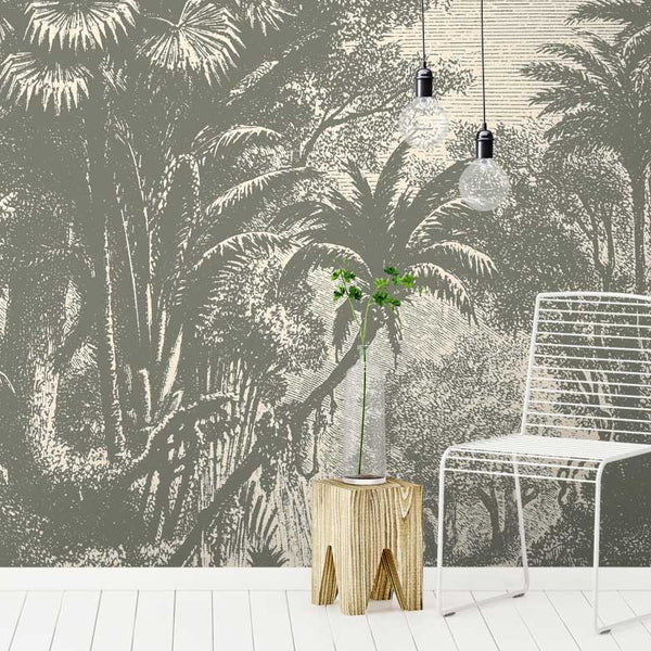 Lost in Goa Jungle Wall Mural - Vintage - Wallpaper Trader