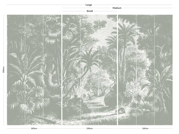 Lost in Goa Jungle Wall Mural - Grey