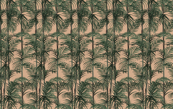 BAMBOO -green & rose - Wallpaper Trader