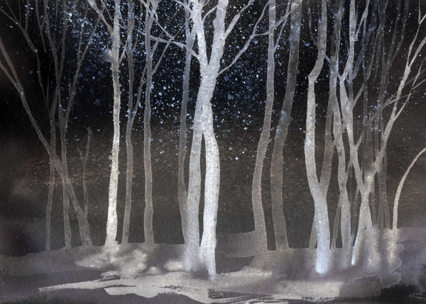 Watercolour Forest - Night - Wallpaper Trader