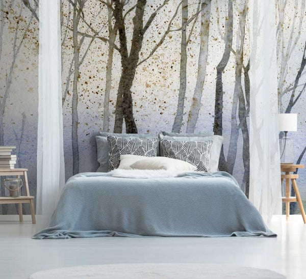 Watercolour Forest Wall Mural - Day