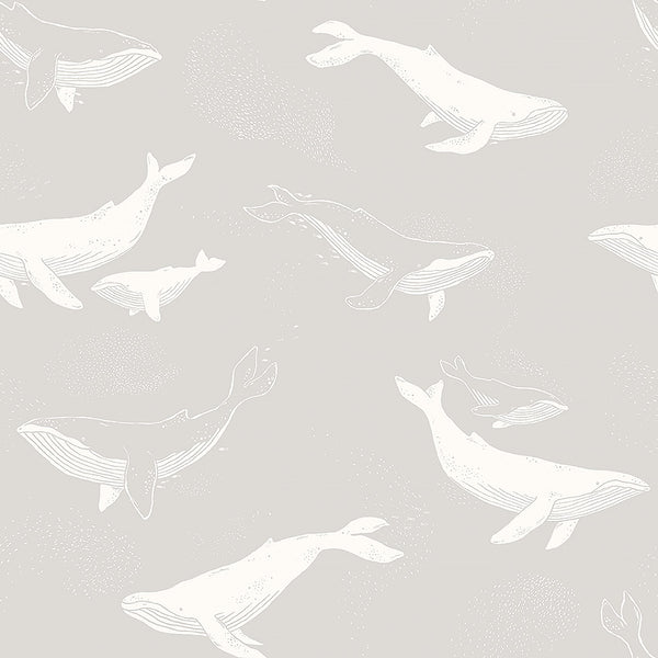Whales - Grey and White - Wallpaper Trader