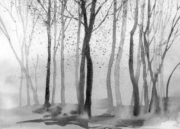 Watercolour Forest - Monochrome - Wallpaper Trader