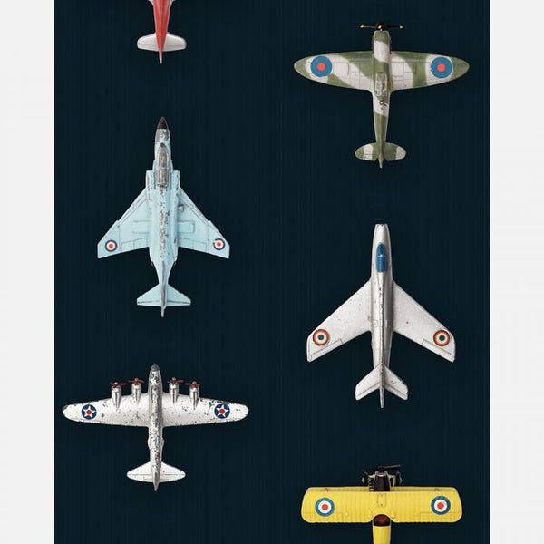 This fun and fanciful wallpaper is filled with perfectly lined up vintage airplanes against a dark blue background.  What a wonderful way to spark the imagination of your little one, telling stories of the trips and journeys you'll go on together one day. Buy this kids wallpaper online at Wallpaper Trader Dot com.