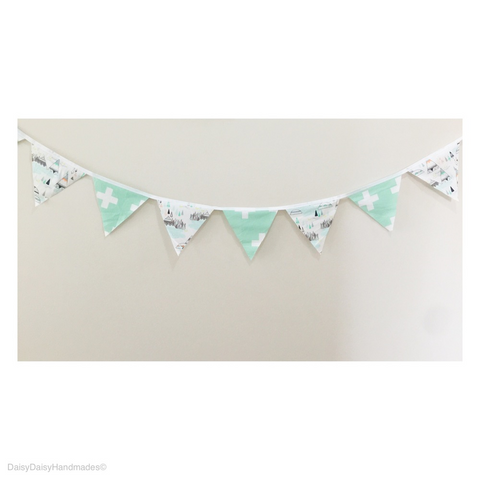 Mint Swiss Cross TeePees Bunting