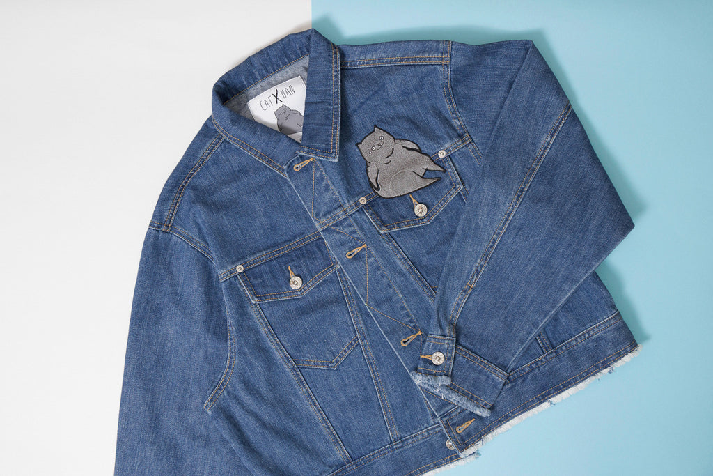 CATXMAN DENIM JACKET WITH BACK PRINT