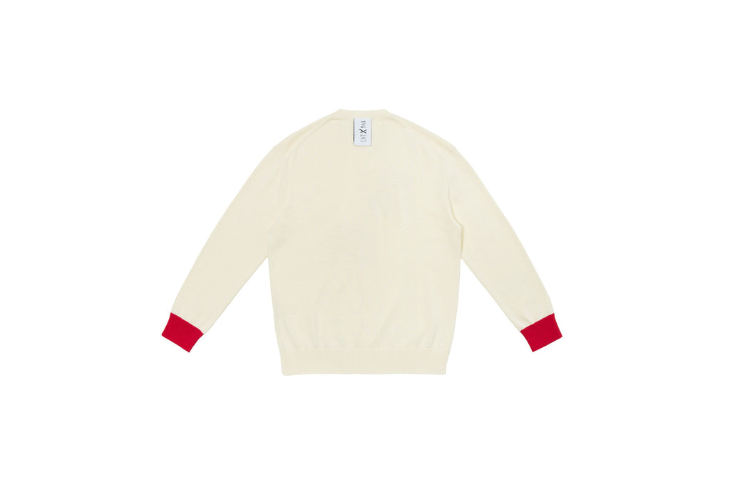 CATXMAN FACE PRINT WHITE KNIT