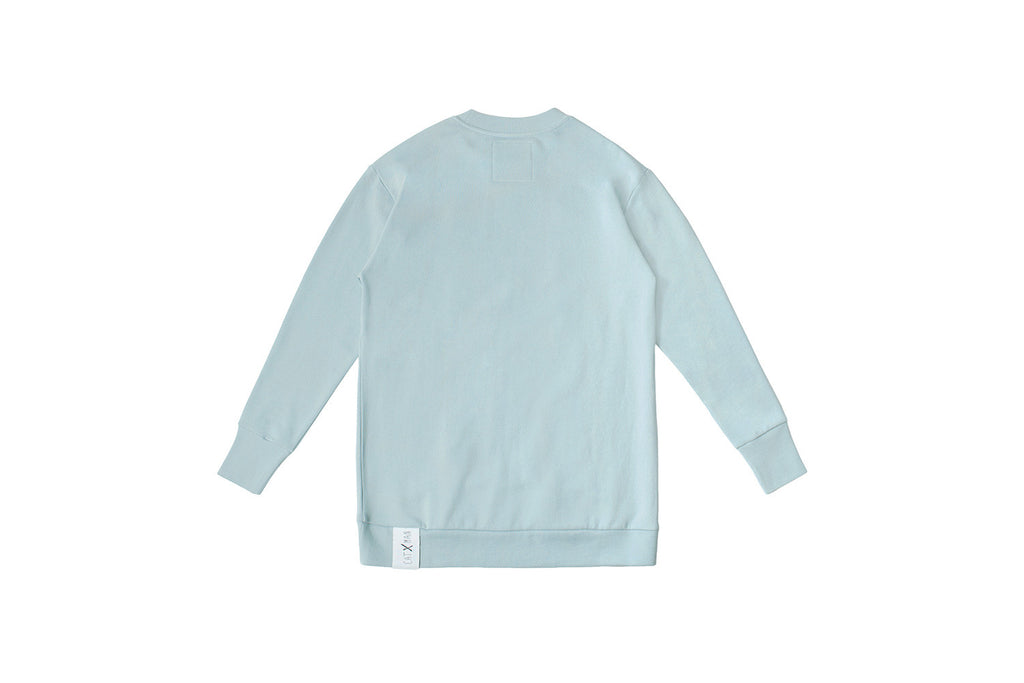 CATXMAN ABSTRACT PATCH DUSTY BLUE SWEATER