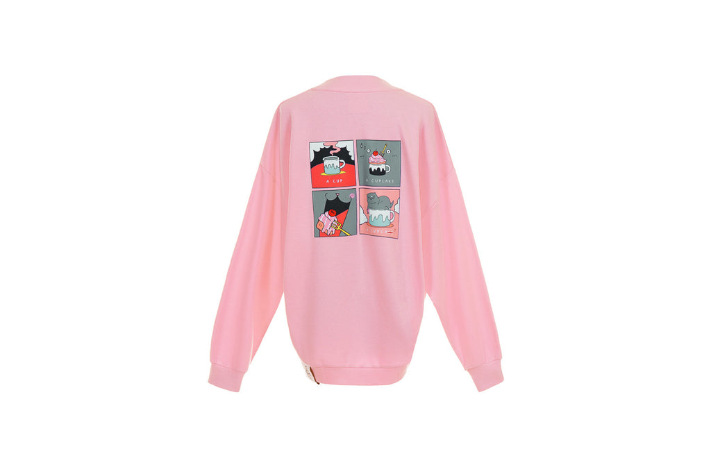 CATXMAN PINK COMIC SWEATER
