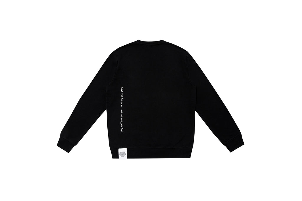 'CATXMAN 'LITTLE MONSTER' BLACK CREW NECK SWEATER (UNISEX)