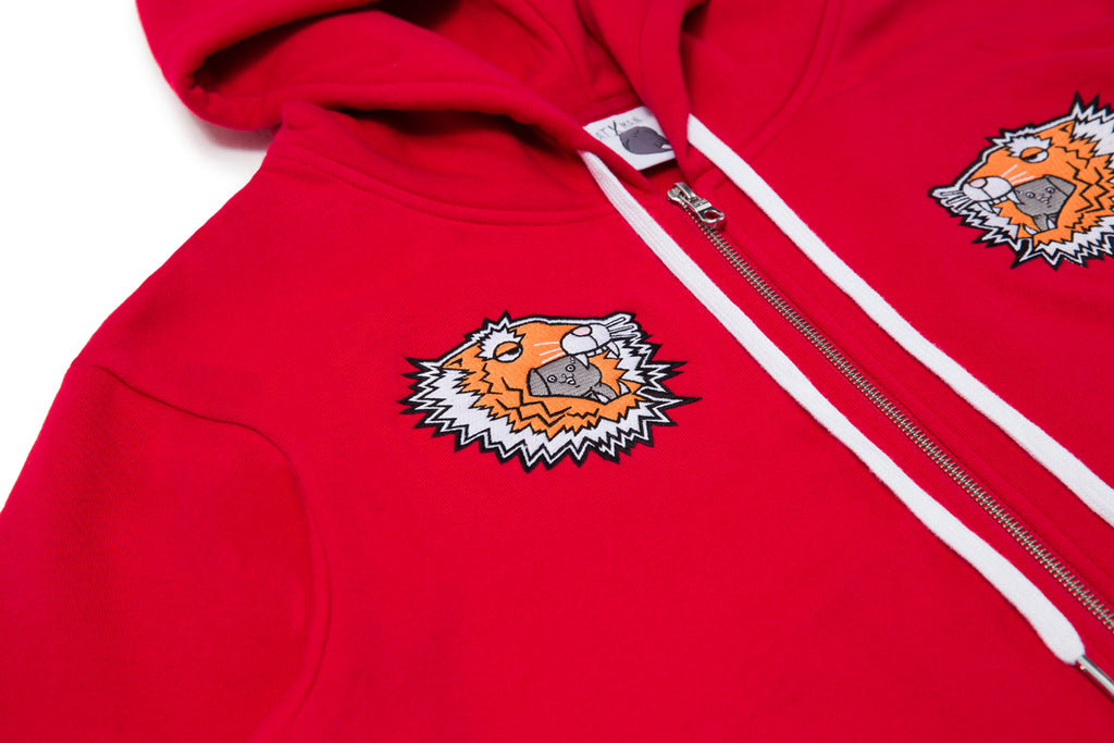 CATXMAN & PAPER TIGER EMBROIDERY HOODED JACKET