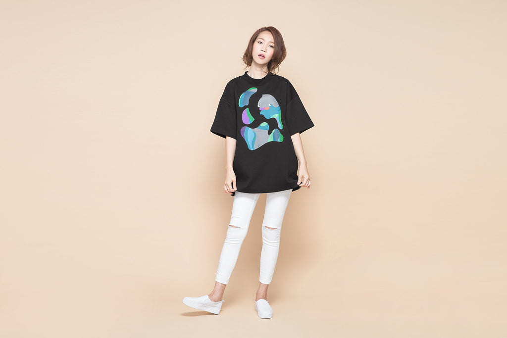 ABSTRACT PAINTING PUZZLE BLACK MOCK NECK TEE