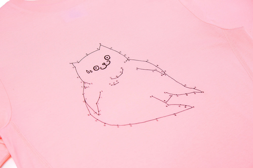 CATXMAN LINE & DOT PINK TOP