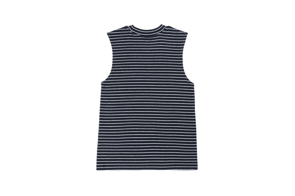 'CATXMAN SLEEVELESS STRIPED BLACK TOP