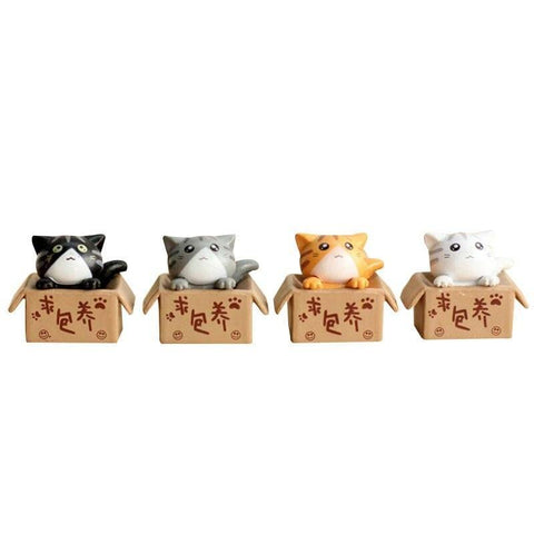 Chat Japonais Figurine 4 Chatons
