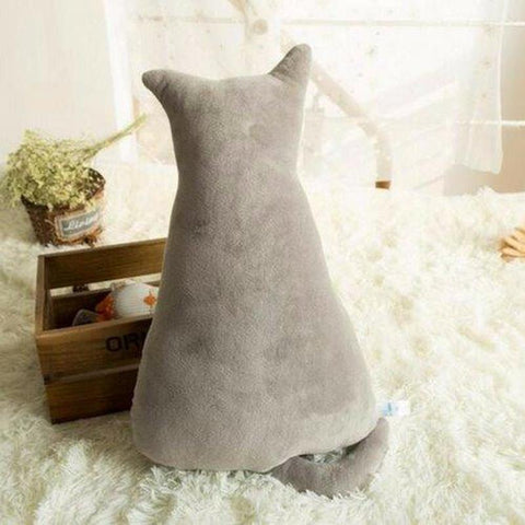 Coussin Forme Chat Gris