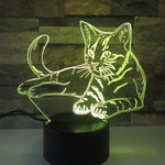 Lampe Chat 3D LED Jaune