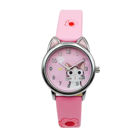 Montre Chat Fille Rose