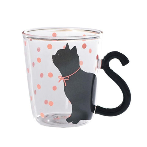 Tasse Chat Silhouette Pois Rouge