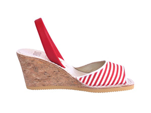 Red & White Stripe Wedge