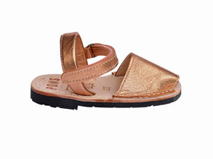 Girls Metallic Rose Gold Ankle Strap Avarca