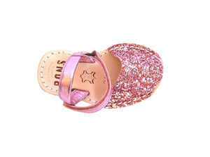 Girls Pink Glitter Ankle Strap
