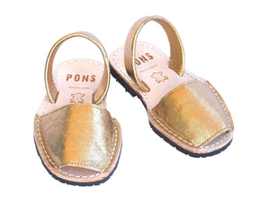 Girls Metallic Gold Classic Avarca