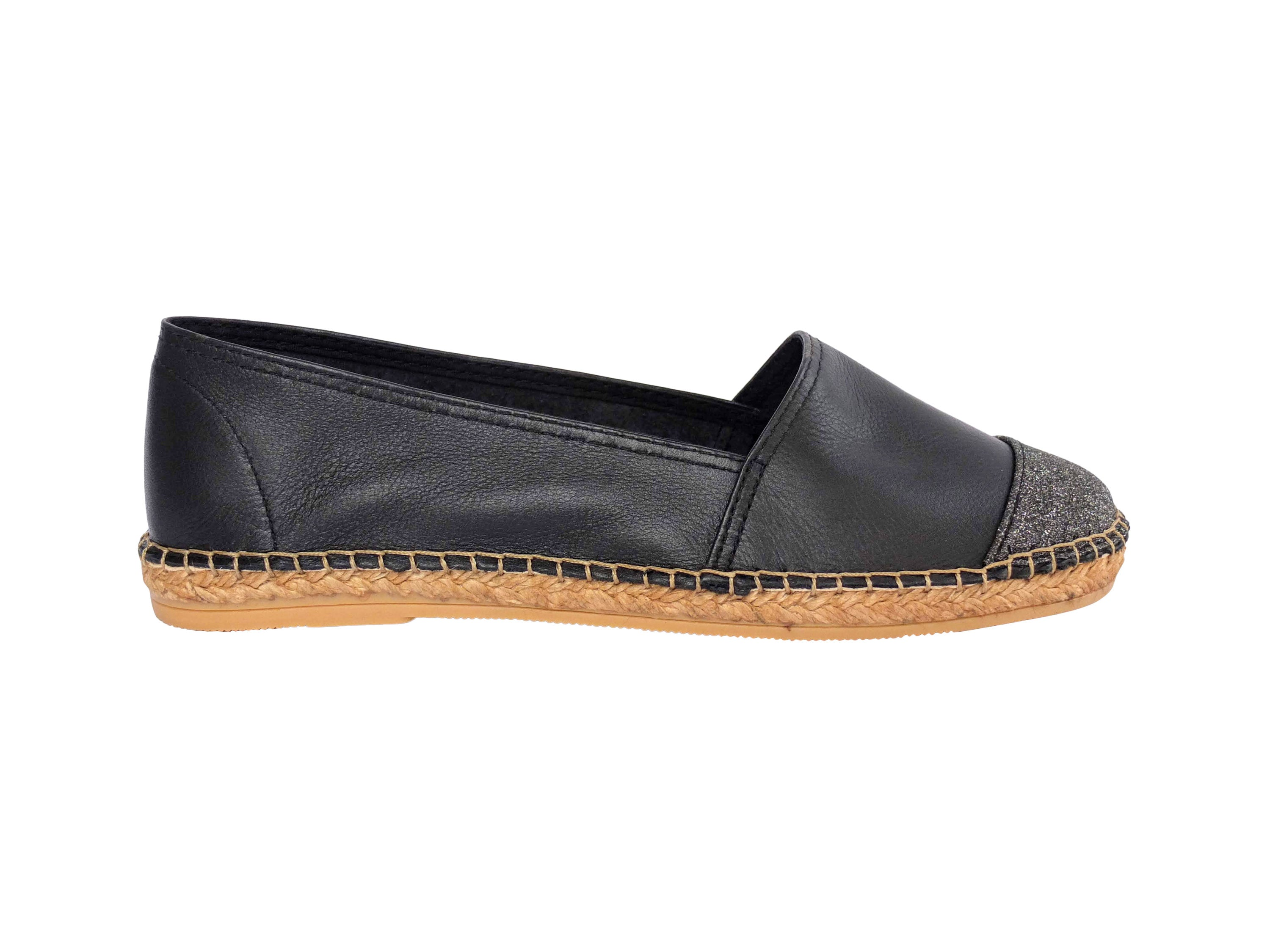 b6c43210ff8 Midnight Leather with Glitter Toe Classic Espadrille