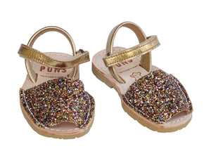 Girls Rainbow Gold Glitter Ankle Strap Avarca