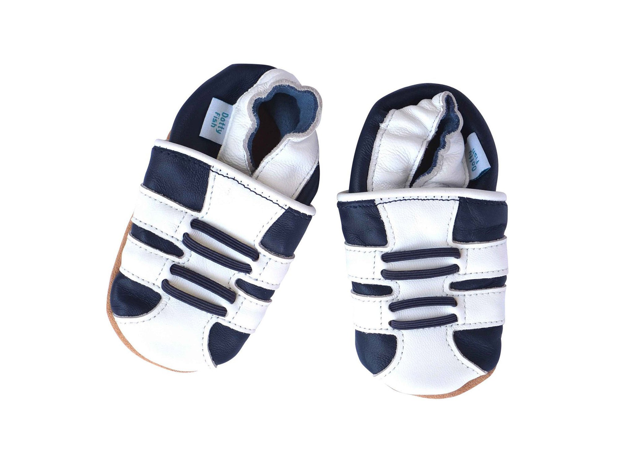 Boys Soft Leather Elasticised Pram Shoes - Blue Sports