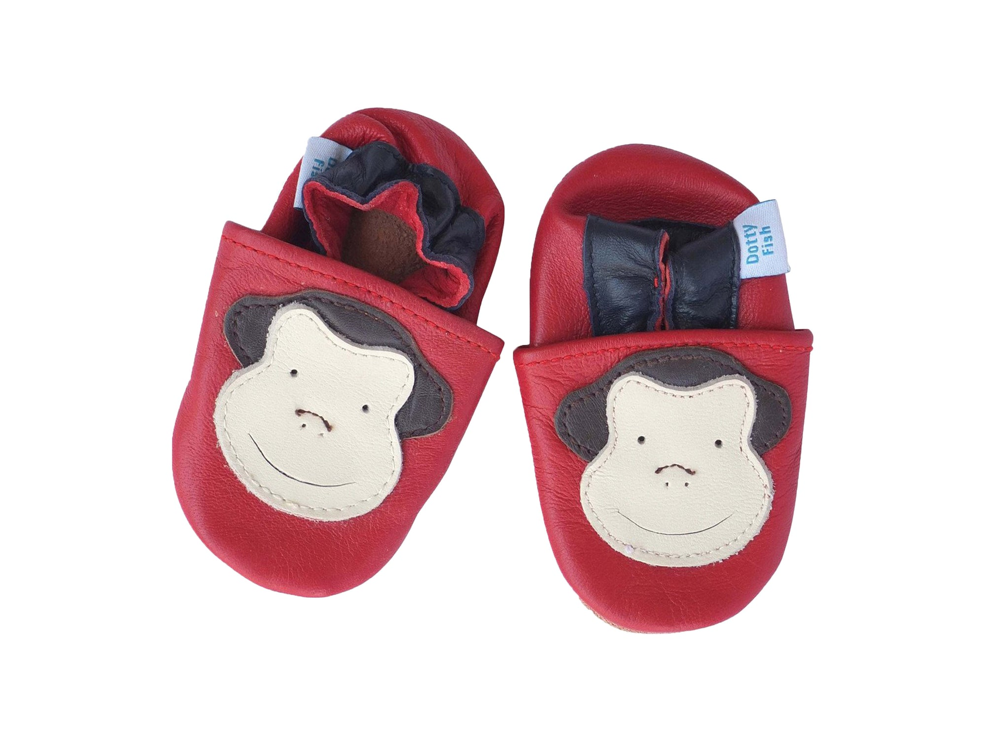 Unisex Soft Leather Elasticised Pram Shoes - Red Monkey