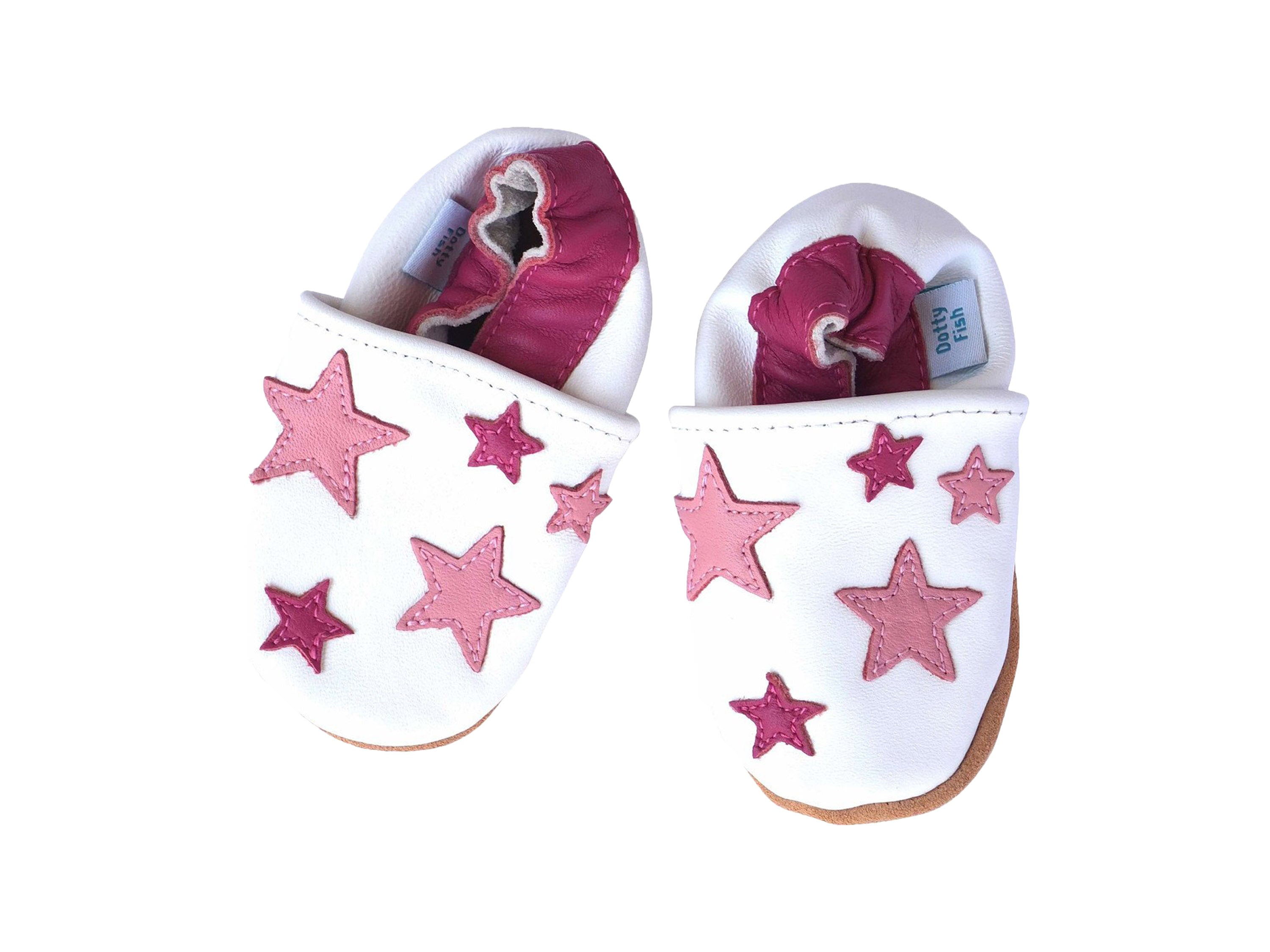 acce5dfb88cfff Pink Stars Soft Leather Elasticised Baby Shoes - Shoeq